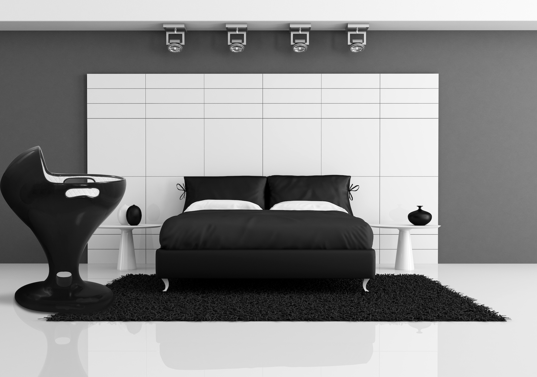 black and white bedroom with double bed against white panel - rendering
